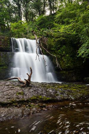 Sgwd Clun-Gwyn WATERFALL in Brecon Beacons National Park in Wales.