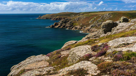 Panorama of Clifs and Rocks at the Lands End in Cornwall in England Фото со стока