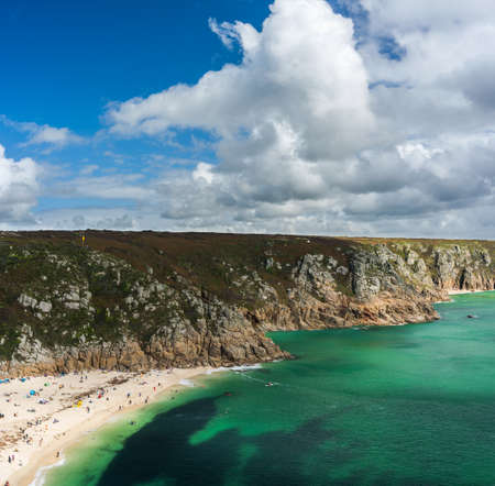 Panorama of the Porthcurno Beach nad Logan Rock - Lands End in Cornwall in England
