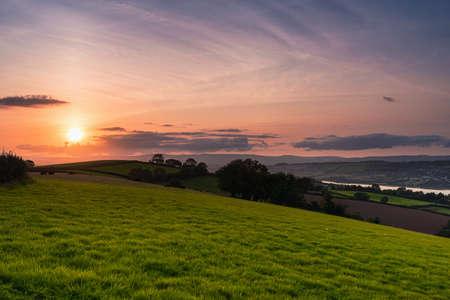 Sunset over the fields in Shaldon in Devon in England in Europe. 写真素材