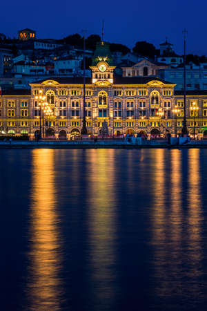 Nightscape of Unity Of Italy Square in Trieste in Italy in Europe