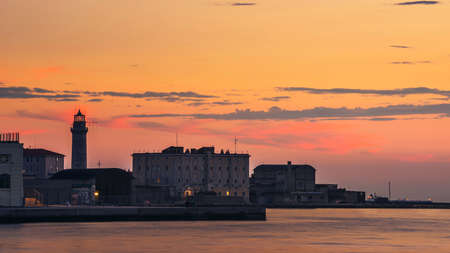 Sunset over Ex Lighthouse in Trieste in Italy in Europe