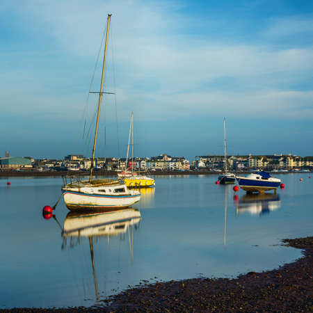 Long time exposure of boats in low tide, The Salty, Shaldon, Teignmouth, Devon, England, Europe
