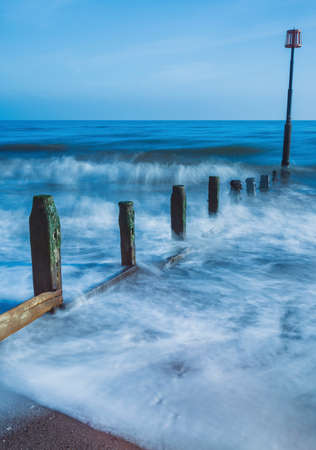 Long time exposure of Teignmouth Beach in Devon in England, UK, Europe Banque d'images
