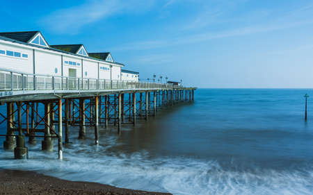 Long time exposure of Grand Pier in Teignmouth in Devon in England, UK, Europe Banque d'images