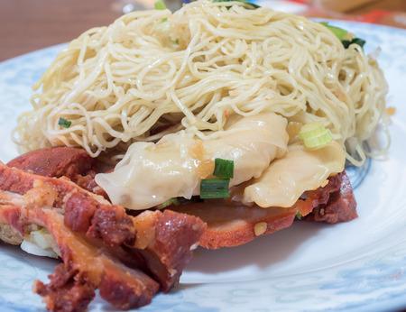 pork noodle. BBQ pork noodle bowl and shrimp dumplings