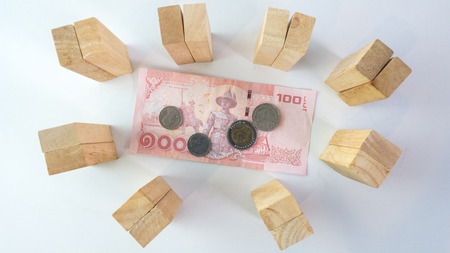 protect money: wooden protect money concept on a white background