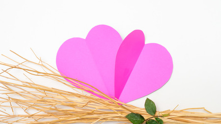 happy couple: paper heart and  branch Stock Photo