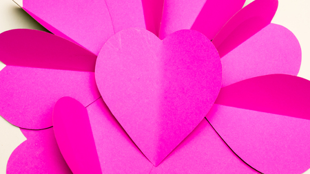 note paper: heart paper group close up