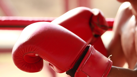 Red Boxing gloves close up