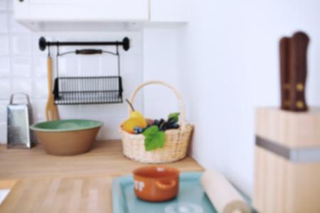 luxury apartment: blur white kitchen