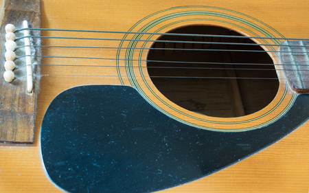 close up guitar on wood background