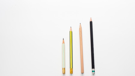 pencil top view on white background Stock Photo