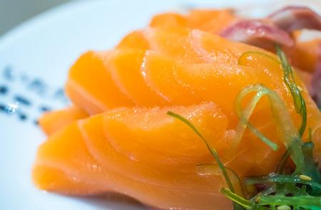 salmon fish on dish close up