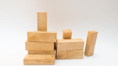 wood block close up group on white background Reklamní fotografie