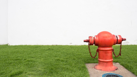 red fire hydrant sits in a freshly cut grass field on white background 版權商用圖片