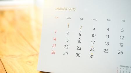 Desktop Calendar page Blurred background close up