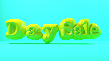 3d render yellow bubble plastic on blue light background letters day sale