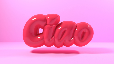3d render green light bubble plastic on pink background letters ciao italy mean hello