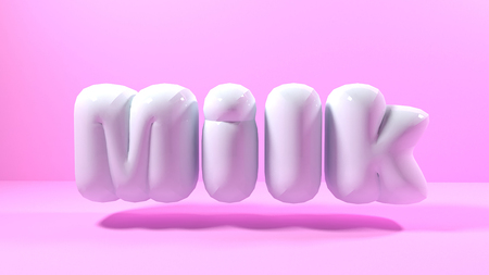 3d render white bubble plastic on pink background letters milk