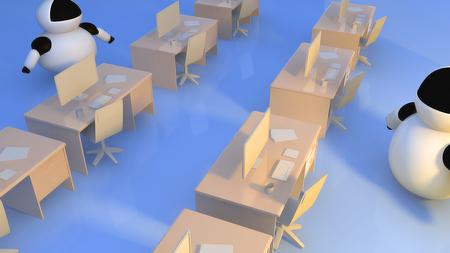 robot Robots instead of humans  3d render