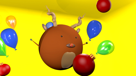 christmas decoration and deer cartoon 3d render