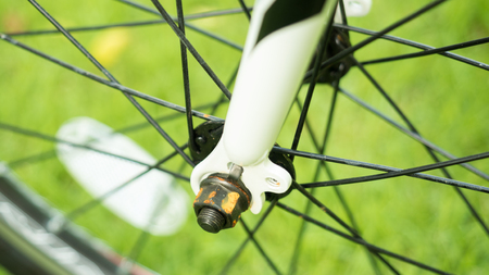 close up bicycle wheels in nature
