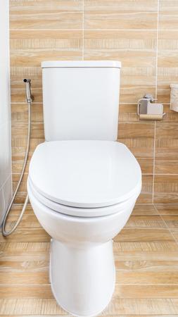 flush toilet on wood background