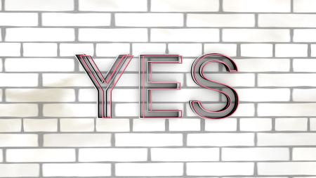 letter yes on brick wall cool background 3d render