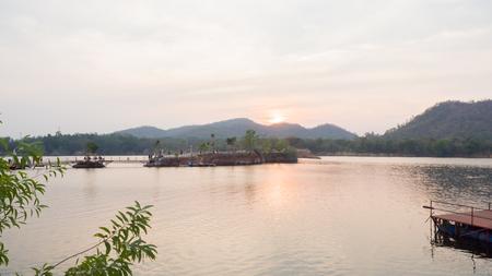 sunrise in mountain and river thai in Ratchaburi Reklamní fotografie