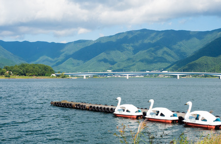 view of kawakuchiko lake in japan
