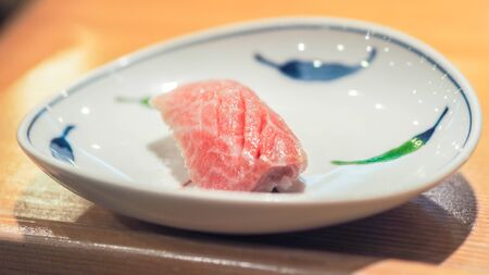 fatty tuna sushi close up Stock Photo