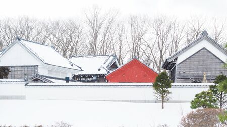 japanese house in snow Imagens