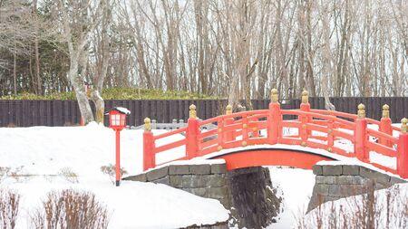 Japanese style building red bridge, Winner in Japan