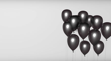black Balloons in isolated White Background