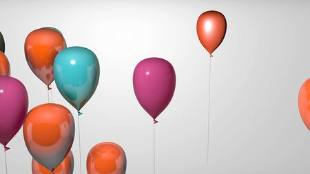 balloon 3d colorful render  isolated White Background