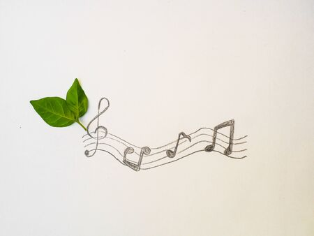 Leaves and music notes.Music from nature concept Stock Photo