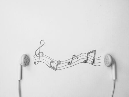 Earphone and music notes.Music creative concept