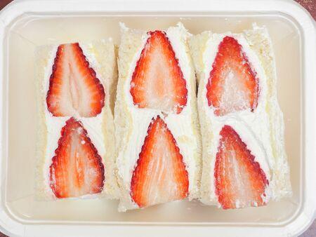 Strawberry Sandwich top view Stockfoto