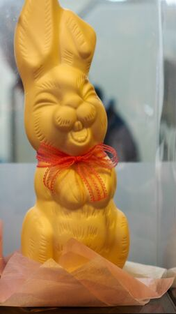 A cute yellow rabbit statue