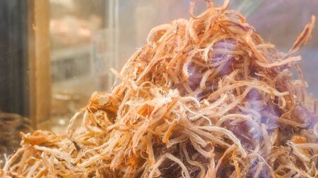 Dried Squid close up in market