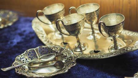 Hokkaido City, japan - Feb 2019 : Display of royal silverware  museum.
