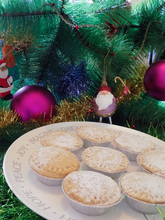 Mince Pies Under The Christmas Tree Stock Photo