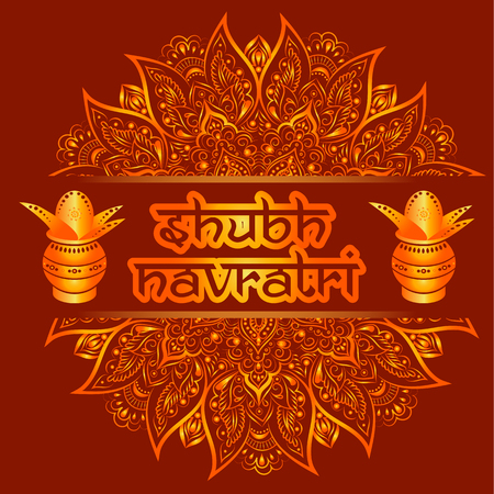 Illustration Of Shubh Navratri Celebration with kalash
