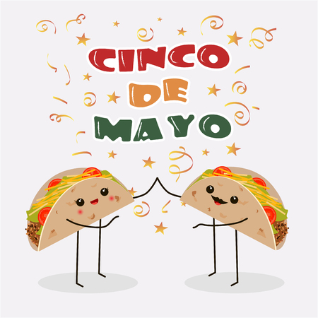 Cinco de Mayo poster design template with two cheerful tacos Vector illustration.