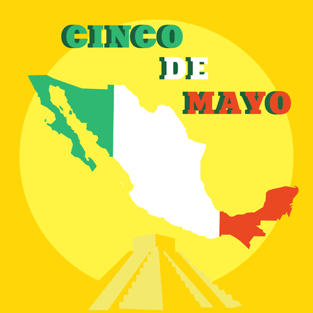 Cinco de Mayo poster design template with Mexican map and piramide Vector illustration.