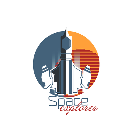 Gray spaceship explorer with red planet. Flat style vector illustration Illustration