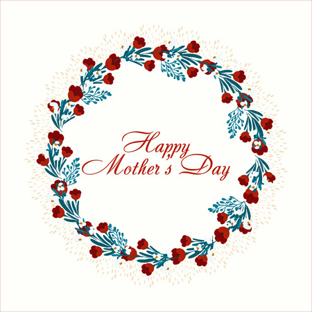 Elegant greeting card design with stylish text Mothers Day with spring colorful flowers.