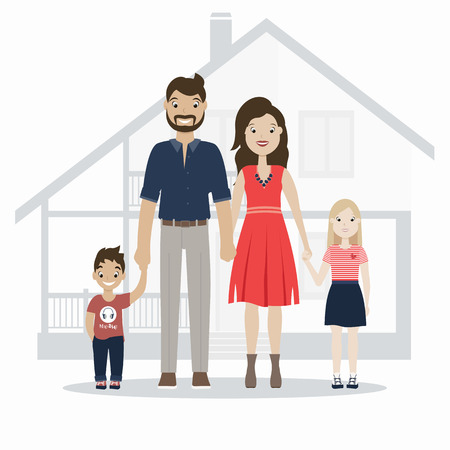 Happy family  Vector illustration of a flat design