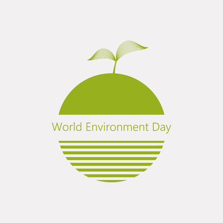 Creative vector abstract logotype for the World Environment Day with sprout and strips. EPS10